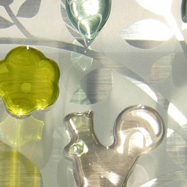 子リスと親リスのガラス表札