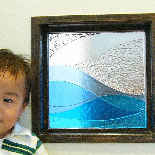 海のガラスパネル